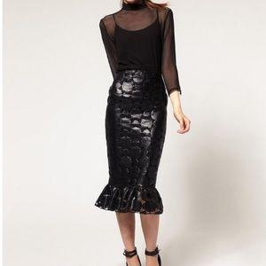 Asos Coated Mermaid Skirt UK 10 US 6